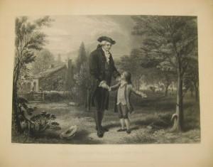 "Sketch of young George confessing to chopping down the cherry tree in the 1867 edition of the ""Life of Washington"" biography"