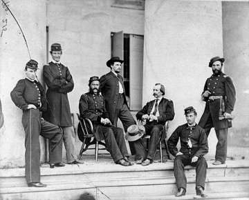 Union soldiers at Arlington House in 1864. Source: Library or Congress