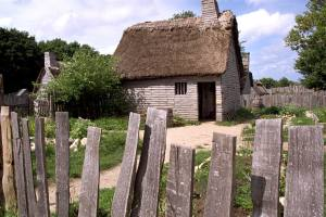Reconstructed Pilgrim village at Plimoth Plantation. Source: Wikipedia