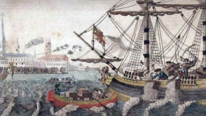 An artist's view of the Boston Tea Party. Source: Wikipedia