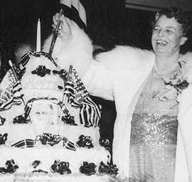 Eleanor Roosevelt with a patriotic birthday cake. Source: Library of Congress