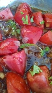 Tomato jam in progress